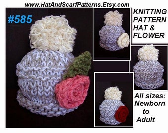 KNITTING PATTERN Hat, Unisex Knit Hat and Flower, Newborn to Adult, beginner, ridge, num. 585, one hour, flat knit, quick, easy, cute