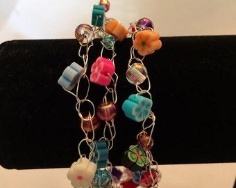 Fimo Flower Wire Crochet Bracelet