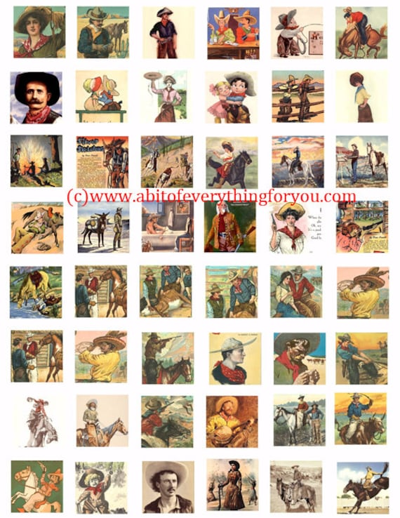 vintage cowboys cowgirls art collage sheet 1 inch squares clip art digital download graphics images art old photos printables