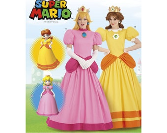 Simplicity 8476-Super Mario's Princess Peach and Daisy Gown Video Game Plus Size 14-22