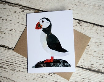 Puffin Card of Original Collage