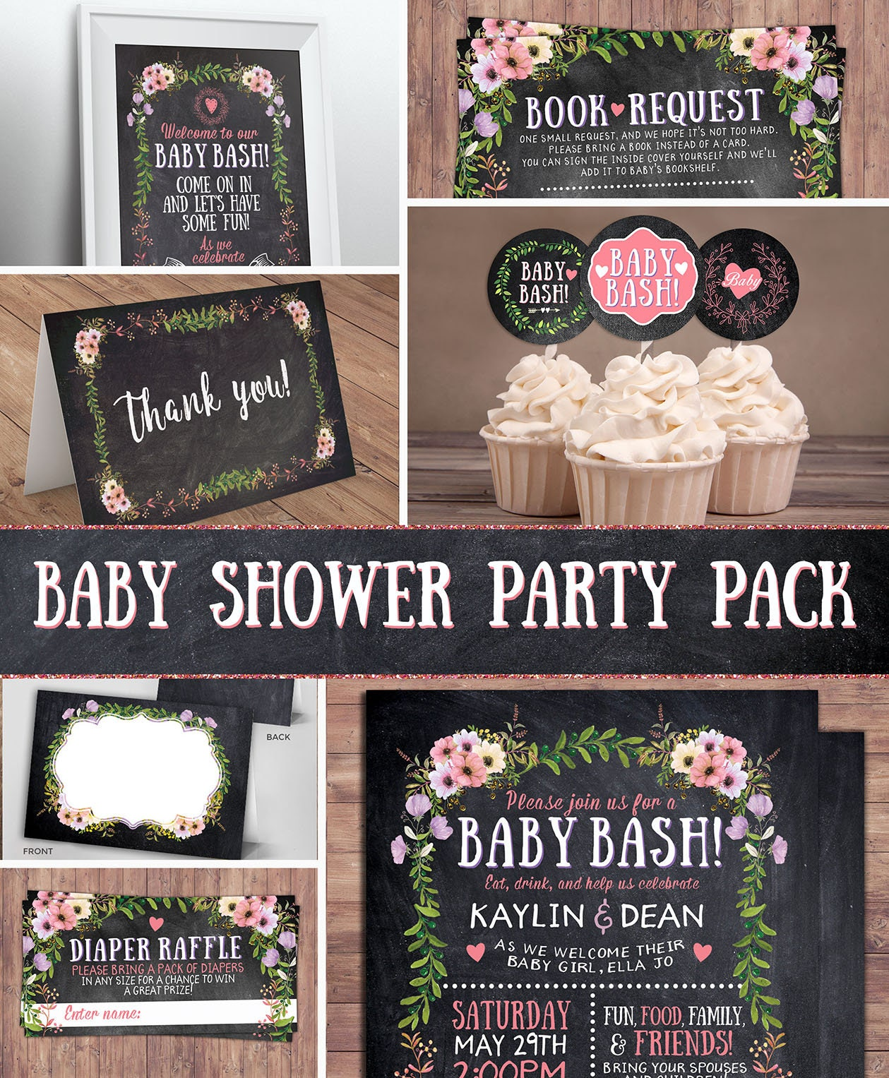 Floral, Rustic, BOHO, BabyQ Chalkboard Couples Co Ed Baby Shower BBQ  Invitation   Babyq   Boy Girl  Baby Is Brewing, Baby Girl Shower
