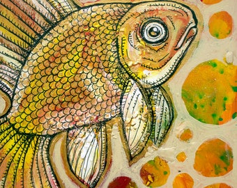Original Goldfish Miniature Art by Lynnette Shelley