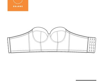 Instant Download PDF lingerie sewing pattern for a strapless long line underwire bra - Esplanade Bra