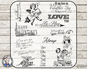 Valentine Word Art Quotes / Photo Overlays / Scrapbooking / PNG 36 black / white / chalk / Vintage Digital Stamps / CLIPART Valentines / PSD