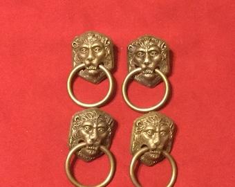 Vintage Brass Lion Head Drawer Pulls