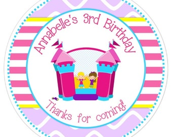 Bounce House Stickers, Birthday Labels, Personalized Bounce House Party Stickers, Birthday Decoration, Birthday Favors, Bounce House Favors