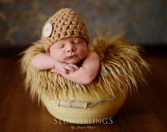 Toffee Beige Newborn Button Beanie Hat