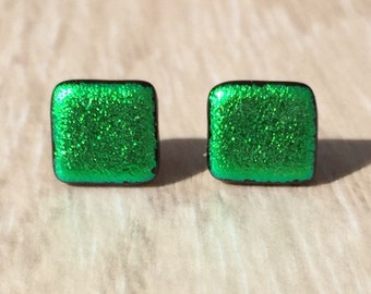 Dichroic Fused Glass Stud Earrings - Green Square Dichroic with Sterling Silver Posts