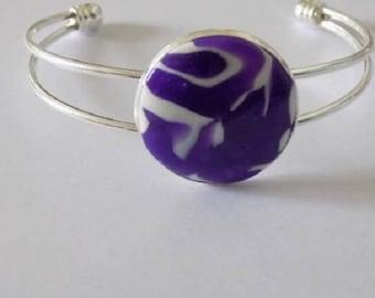 Metal cabochon polymer clay bracelet