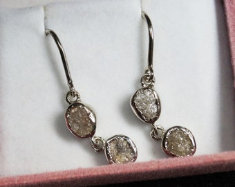 9.0 Tcw Natural Gray Diamond Earring - Raw Diamond Earring - Gray Rough Uncut Diamond Earring -925 Silver Hand made earring - Diamond Dangle