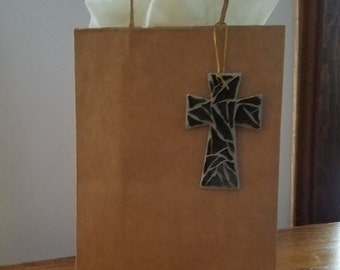 Gift Bag Adornment, Cross, Stained Glass Cross, Mosaic Cross, Baptism Gift, Wooden Cross, Wall Cross, DebsChristianCrafts