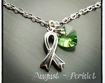 Brain Tumor / Brain Cancer Grey Ribbon Awareness Necklace w/ Swarovski Birthstone