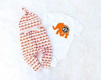 Personalized Name Outfit for Baby Boy - Baby Elephant Outfit - Personalized Baby Boy Coming Home Outfit - Monogrammed Baby Boy Gift Set