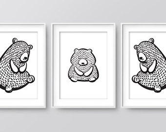Cute Nursery Bear Family Print, Wall Prints, Nursery Art, Home Print, Downloadable Print, Woodland Nursery, Nursery Print, Digital Art