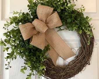 SPRING BOXWOOD WREATH,Summer Wreath,Outdoor Wreath,Year Round Wreath, Fall Wreath,Grapevine Wreath,Wreath,Front Door Wreath,Farmhouse Wreath