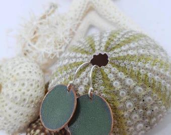 Moss Green Enamel sterling silver Earrings