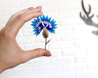 Cornflower Brooch - Cornflower Laser Cut - Cornflower Acrylic Brooch - Cornflower Jewelry - Plexiglas - Handmade - Barnaul