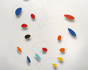 X Large Modern Art Mobile Hanging Sculpture Calder Inspired 56w x 72h Colorful Home Decor skylight Art