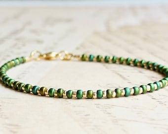 Metallic Green And Gold Seed Bead Bracelet, Beaded Bracelet, Stacking Bracelet, Minimalist Bracelet, Dainty Bracelet, Delicate Bracelet