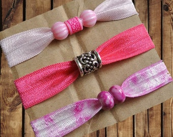 Beaded Hair Ties/Elastics No Crease 3 Pack Light Pink, Hot Pink, Magenta Tie Dye