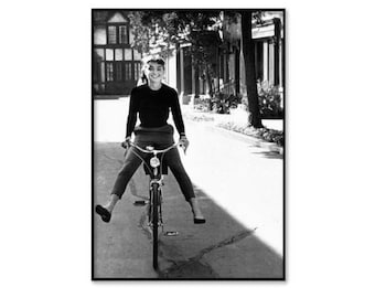 Audrey Hepburn wall art, Audrey Hepburn riding a bike, vintage fashion photography print, black and white, poster, digital download, instant