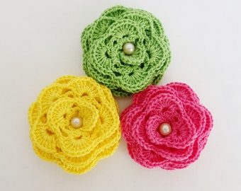 Brooches crochet flowers are a unique accessory for the ladies.  Accessories perfect for all seasons and for gifting.