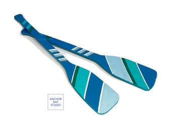 Painted Wooden Oars. Nautical Wood Oars. Painted Paddles. Painted Rowing Oars.