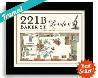 Sherlock Holmes House, 221B Baker Street Framed Art Sherlock House Dr Watson London Flat Geekery Map Sherlock BBC Map of 221B London England