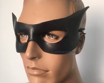 LEATHER MASK Black Leather Mask Cat Eye Masquerade Mardi Gras, Punk Cosplay Very Comfortable
