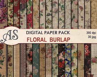 Digital Vintage Floral Burlap Paper Pack, 30 printable Digital Scrapbooking papers, Fabric Digital Collage, Instant Download, set 44