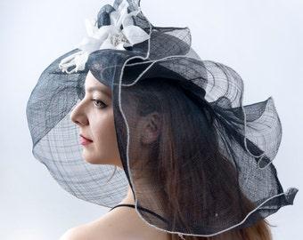 Derby hat, Royal Ascot hat, Kentucky derby hat, Summer sun hat, Wedding hat, Audrey Hepburn hat, elegant romantic hat, Edwardian hat,