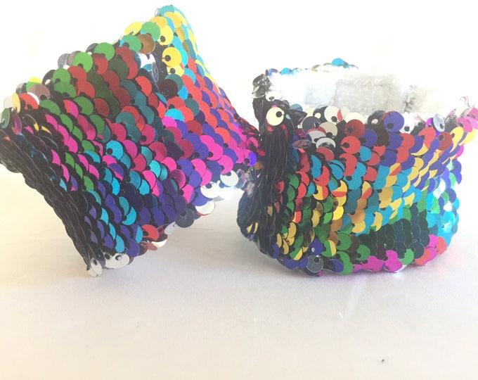 Sequin Fidget Bracelet, Two sided flip sequin sensory tool, Mermaid Sequin Bracelet, School Spirit Bracelet