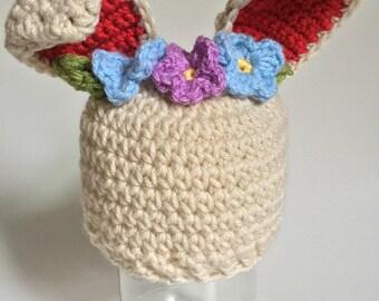 Adorable Woodland Creature Hat, Animal Hat, Bunnie Hat, Flower Crown, Baby Beanie
