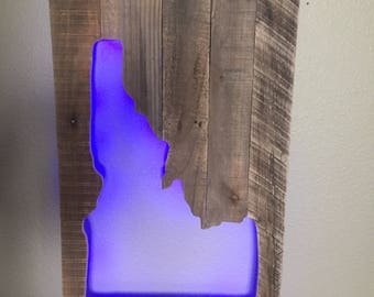 Reclaimed Wood Idaho Light up Wall Art