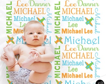 Baby boy personalized blanket, airplane blanket, swaddle blanket , baby shower gift, boy gift, green, orange, baby blanket 1003