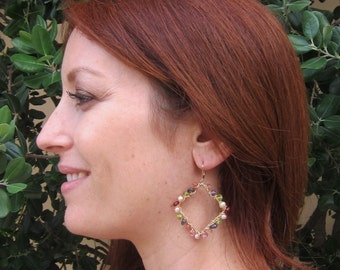 African Sunstone, Iolite, Peridot, Garnet , Pink Topaz and Pink Pearl Handmade Earrings with 14K Gold Filled Wire Wrap