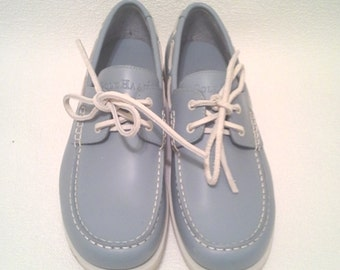 Cole Haan Resort Light Blue Leather Top Siders Deck Shoes, Size 7.5M