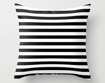 Velvet Black and White Striped Pillow, Cushion Cover 18x18 22x22, Stripes, Throw Pillow Cover, Dorm Pillows, Girls Room Decor, Gifts for Her