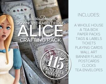 Alice in Wonderland Crafting Pack Printable Paper Crafting Scrapbook Embellishment Kit Collage Sheet S3I1 - VDMPAL1627