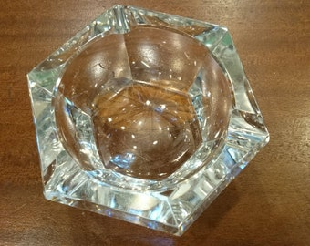 Vintage Val St. Lambert Crystal Ashtray/Crystal/Mad Men/Hexagon