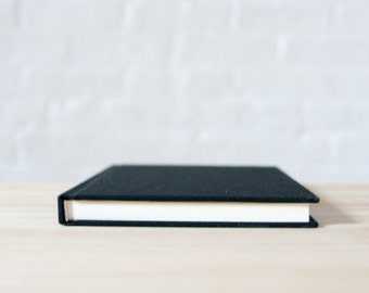 Black Cotton Hardcover Notebook with Smooth Ecru Paper | Sketchbook | Journal