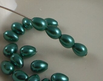 Glass Pearl Beads 7x5mm Teardrop Teal (Qty 25) Z-7x5PT-TEAL