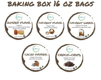 ORGANIC baking box 16 oz bags | Almond flour | coconut flour | coconut sugar | raw cacao powder | chocolate chip | compostable bags