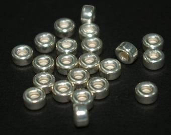 5mm Sterling Silver 925 RONDELLE SPACER BEAD Lots, 3mm thick - Genuine Silver - Free Shipping Worldwide