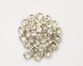 Weiss Rhinestone Brooch, Christmas Jewelry, Clear Rhinestone Brooch