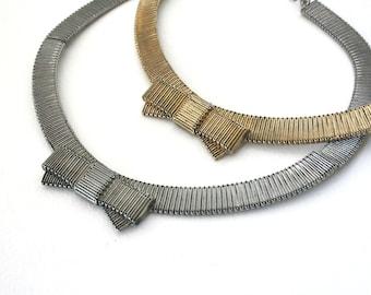 Vintage Metal Bowtie Knot Statement Necklace
