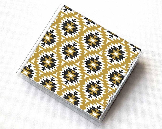 Vinyl Moo Square Card Holder - Aztec1 / vinyl, snap, mini card case, moo case, small, square, gift, boho, aztec, tribal, bohemian
