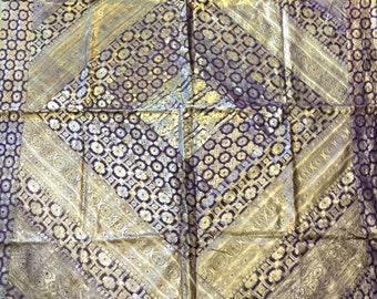 Purple Gold Sari Border Brocade Tablecloth Wall Hanging 53 x 70 ABC Carpet India Zari