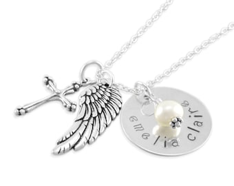 Angel Wing Remembrance Necklace. In Memory Personalize pearl sympathy present, Sterling silver, initial, cross, engraved name EMELIA CLAIRE
